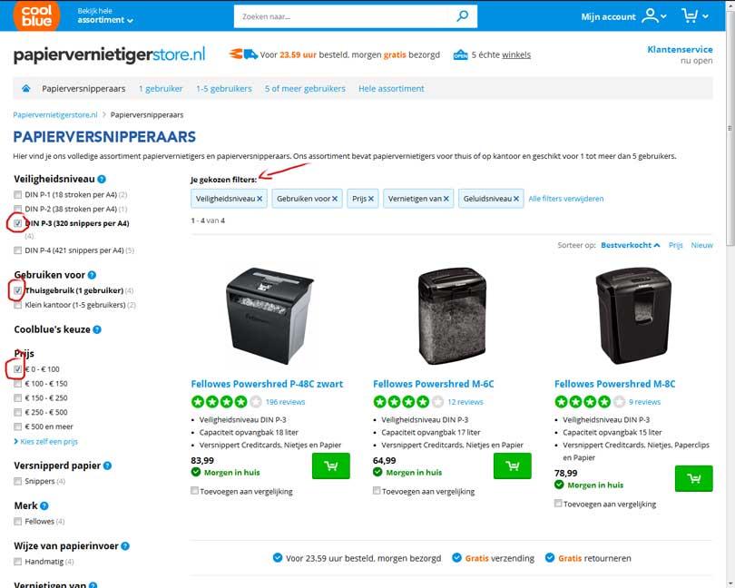 3-papierversnipperaars-filteren-op-specificatie